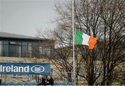 15 November 2015; An Irish tricolour flies at half-mast for the recent tragic events in Paris and the current period of national mourning in France. European Rugby Champions Cup, Pool 5, Round 1, Leinster v Wasps. RDS, Ballsbridge, Dublin. Picture credit: Brendan Moran / SPORTSFILE