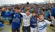 15 November 2015; Leinster supporters, from left, Con Lucey, Killian Curran, David Curran and Patrick Curran, from Blackrock, Dublin, ahead of the game. European Rugby Champions Cup, Pool 5, Round 1, Leinster v Wasps. RDS, Ballsbridge, Dublin. Picture credit: Stephen McCarthy / SPORTSFILE