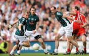 2 August 2009; Kildare players, from left, Morgan O'Flaherty, Kevin O'Neill and Dermot Earley in action against Brian Dooher, Tyrone. GAA Football All-Ireland Senior Championship Quarter-Final, Tyrone v Kildare, Croke Park, Dublin. Picture credit: Stephen McCarthy / SPORTSFILE