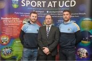18 Novemeber 2015; Noel Delaney, Grant Thornton, with GAA GPA All-Star Footballer of the Year Jack McCaffrey, Dublin, left, and UCD and Kilkenny hurler Conor O'Shea in attendance at the UCD GAA Scholarship Awards evening in UCD, Dublin. Picture credit: Stephen McCarthy / SPORTSFILE