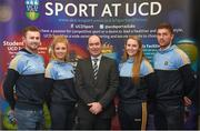 18 Novemeber 2015; Noel Delaney, Grant Thornton, with GAA team captains, from left, Jack McCaffrey, football, Ciara Murphy, ladies football, Anne Eviston, camogie, and Conor O'Shea, hurling, at the UCD GAA Scholarship Awards evening in UCD, Dublin. Picture credit: Stephen McCarthy / SPORTSFILE