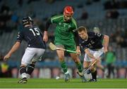 21 November 2015; Paul Divilly, Ireland, in action against Daniel Cameron, left, and Fraser Heath, Scotland. 2015 Senior Hurling/Shinty International Series, 2nd leg, Ireland v Scotland. Croke Park, Dublin. Picture credit: Piaras Ó Mídheach / SPORTSFILE