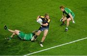21 November 2015; Jake Stringer, Australia, in action against Rory O'Carroll, left, and Peter Harte, right, Ireland. EirGrid International Rules Test 2015, Ireland v Australia. Croke Park, Dublin. Picture credit: Piaras Ó Mídheach / SPORTSFILE