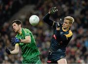 21 November 2015; Rory O'Carroll, Ireland, in action against Nick Riewoldt, Australia. EirGrid International Rules Test 2015, Ireland v Australia. Croke Park, Dublin. Picture credit: Sam Barnes / SPORTSFILE