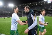 21 November 2015; Ireland selector Dermot Earley, right, celebrates with Rory O'Carroll after the game. EirGrid International Rules Test 2015, Ireland v Australia. Croke Park, Dublin. Picture credit: Paul Mohan / SPORTSFILE
