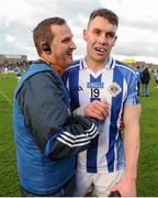 22 November 2015; Ballyboden St Enda's manager Andy McEntee congratulates one of his players, Donagh McCabe, on their victory after the final whistle. AIB Leinster GAA Senior Club Football Championship Semi-Final, St Loman's v Ballyboden St Enda's. Cusack Park, Mullingar, Co. Westmeath. Picture credit: Seb Daly / SPORTSFILE