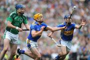 16 August 2009; Pádriac Maher and Paddy Stapleton, right, Tipperary, in action against Paudie McNamara, Limerick. GAA Hurling All-Ireland Senior Championship Semi-Final, Tipperary v Limerick, Croke Park, Dublin. Picture credit: Ray Ryan / SPORTSFILE