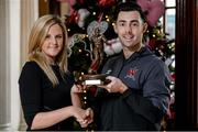 25 November 2015; Richie Towell, Dundalk, is presented with his SSE/SWAI Airtricity Player of the Month Award for November 2015 by Leanne Sheill from Airtricity. Davenport Hotel, Merrion Square, Dublin. Picture credit: Sam Barnes / SPORTSFILE