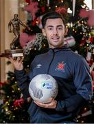 25 November 2015; Richie Towell, Dundalk, with his SSE Airtricity/SWAI Player of the Month Award for November 2015. Davenport Hotel, Merrion Square, Dublin. Picture credit: Sam Barnes / SPORTSFILE