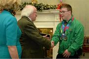 25 November 2015; Team Ireland's Sean Coleman, a member of Cork Special Olympics Swimming Club, from Youghal, Co. Cork, in Aras an Uachtarain as the Special Olympics World Summer Games are honoured by President Michael D. Higgins and wife Sabina. Aras an Uachtarain, Phoenix Park, Dublin. Picture credit: Cody Glenn / SPORTSFILE
