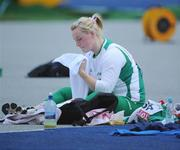 20 August 2009; Ireland's Eileen O'Keeffe reacts after her third attempt, which was her second throw which failed to leave the cage and recorded no mark, during qualifying for the Women's Hammer Final where she threw a mark of 63.20m but failed to make the final. 12th IAAF World Championships in Athletics, Olympic Stadium, Berlin, Germany. Picture credit: Brendan Moran / SPORTSFILE