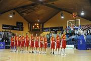 15 August 2009; The Montenegro team during the national anthem. Senior Women's European Championship Qualifier, Ireland v Montenegro, National Basketball Arena, Tallaght, Dublin. Picture credit: Stephen McCarthy / SPORTSFILE