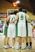 15 August 2009; The Ireland team form a huddle during the match. Senior Women's European Championship Qualifier, Ireland v Montenegro, National Basketball Arena, Tallaght, Dublin. Picture credit: Stephen McCarthy / SPORTSFILE