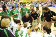 15 August 2009; Ireland assistant coach Mark Ingle, left, and head coach Mark Scannell during the team talk. Senior Women's European Championship Qualifier, Ireland v Montenegro, National Basketball Arena, Tallaght, Dublin. Picture credit: Stephen McCarthy / SPORTSFILE