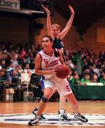 30 January 2000; Jillian Hayes of Avonmore Wildcats in action against Karen Hennessy of Meteors during the Senior Women's Sprite Cup Final match between Avonmore Wildcats and Meteors at the National Basketball Arena in Tallaght, Dublin. Photo by Brendan Moran/Sportsfile