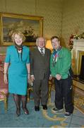 25 November 2015; Team Ireland's Sean Coleman, a member of Cork Special Olympics Swimming Club, from Youghal, Co. Cork, in Aras an Uachtarain as the Special Olympics World Summer Games are honoured by President Michael D. Higgins and wife Sabina. Aras an Uachtarain, Phoenix Park, Dublin.  Picture credit: Ray McManus / SPORTSFILE