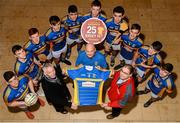 28 November 2015; Kieran Carolan, centre right, from Carroll's Cuisine, presented Castleknock GAA Chairman Charles Spillane, centre left, and the Minor Football Team with a brand new set of jerseys. The team are among the 25 winners of Carroll's jersey competition, which attracted hundreds of entries from across the country. The competition, which was created to celebrate 25 years of Carroll's supporting Offaly GAA asked clubs/schools to simply describe why they deserve to win a set of jerseys. Dave O'Brien, centre with jersey, from Castleknock entered a fantastic witty poem into the competition which got the attention of the judges and resulted in the team being awarded a free set of jerseys from Carroll's. Castleknock Hotel, Dublin 15. Picture credit: Cody Glenn / SPORTSFILE