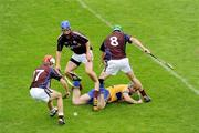 22 August 2009; Sean Collins, Clare, in action against Barry Daly, 17, Martin Dolphin, 4, and David Burke, Galway. Bord Gais Energy GAA All-Ireland U21 Hurling Championship Semi-Final, Galway v Clare, Semple Stadium, Thurles, Co. Tipperary. Picture credit: Ray McManus / SPORTSFILE