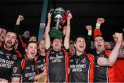 29 November 2015; Oulart the Ballagh captain Barry Kehoe lifts the cup as his team-mates celebrate. AIB Leinster GAA Senior Club Hurling Championship Final, Oulart the Ballagh v Cuala. Netwatch Dr. Cullen Park, Carlow. Picture credit: David Maher / SPORTSFILE