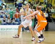 29 August 2009; Jessica Scannell, Ireland, in action against Francisca Donders, Netherlands. Senior Women's Basketball European Championship Qualifier, Ireland v Netherlands, National Basketball Arena, Tallaght, Dublin. Picture credit: Paul Mohan / SPORTSFILE