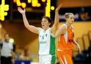 29 August 2009; Lindsay Peat, Ireland, celebrates after scoring 3 points near the end of the game. Senior Women's Basketball European Championship Qualifier, Ireland v Netherlands, National Basketball Arena, Tallaght, Dublin. Picture credit: Paul Mohan / SPORTSFILE