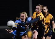 3 December 2015; Megan Glynn, UCD, in action against Deirdre Murphy, DCU. Senior Women's Football League Final, UCD vs DCU, Belfield, Dublin. Picture credit: Sam Barnes / SPORTSFILE