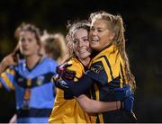 3 December 2015; Aisling McCauliffe, left, and Sarah Rowe, DCU, celebrate at the final whistle. Senior Women's Football League Final, UCD vs DCU, Belfield, Dublin. Picture credit: Sam Barnes / SPORTSFILE