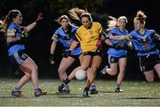 3 December 2015; Aishling Sheridan, DCU, in action against Sarah Molly Cullen, right, UCD. Senior Women's Football League Final, UCD vs DCU, Belfield, Dublin. Picture credit: Sam Barnes / SPORTSFILE