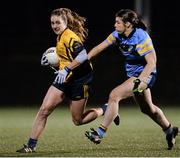 3 December 2015;  Michelle Farrell, DCU, in action against Ciara McDermott, UCD. Senior Women's Football League Final, UCD vs DCU, Belfield, Dublin. Picture credit: Sam Barnes / SPORTSFILE