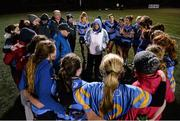 3 December 2015; Peter Clark, centre left, and Angie McNally, centre right, UCD, lead a team talk after the game. Senior Women's Football League Final, UCD vs DCU, Belfield, Dublin. Picture credit: Sam Barnes / SPORTSFILE