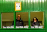 6 December 2015; Programme sellers Síle Maloney and Eamonn Cunningham get ready before the game. AIB Leinster GAA Senior Club Football Championship Final, Portlaoise v Ballyboden St Enda's. O'Connor Park, Tullamore, Co. Offaly. Picture credit: Ray McManus / SPORTSFILE