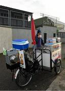 6 December 2015; Hot Dog vendor Sean McElroy, from Newbridge, Co. Kildare, enjoys a cup of tea before opening his stall for business. AIB Leinster GAA Senior Club Football Championship Final, Portlaoise v Ballyboden St Enda's. O'Connor Park, Tullamore, Co. Offaly. Picture credit: Ray McManus / SPORTSFILE