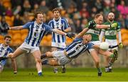 6 December 2015; Brian McCormack scores a point for Portlaoise under pressure from Stephen Hiney and Darren O'Reilly, Ballyboden St Enda's. AIB Leinster GAA Senior Club Football Championship Final, Portlaoise v Ballyboden St Enda's. O'Connor Park, Tullamore, Co. Offaly. Picture credit: Ray McManus / SPORTSFILE