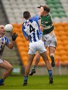 6 December 2015; Paul Cahillane punches the ball past Ballyboden St Enda's defenders Shane Clayton, 4, and Stephen Hiney to score a first half goal for Portlaoise. AIB Leinster GAA Senior Club Football Championship Final, Portlaoise v Ballyboden St Enda's. O'Connor Park, Tullamore, Co. Offaly. Picture credit: Ray McManus / SPORTSFILE