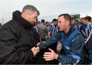 6 December 2015; Ballyboden St Enda's manager Andy McEntee is congratulated by John Costello, Dublin County Board secretary, following his side's victory. AIB Leinster GAA Senior Club Football Championship Final, Portlaoise v Ballyboden St Enda's. O'Connor Park, Tullamore, Co. Offaly. Picture credit: Stephen McCarthy / SPORTSFILE