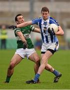 6 December 2015; Aran Waters, Ballyboden St Enda's, in action against Gareth Dillon, Portlaoise. AIB Leinster GAA Senior Club Football Championship Final, Portlaoise v Ballyboden St Enda's. O'Connor Park, Tullamore, Co. Offaly. Picture credit: Stephen McCarthy / SPORTSFILE