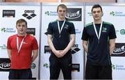 5 December 2015; Men's 200m Butterfly medallists, from left, Joseph Mooney, bronze, Limerick, James Brown, gold, Ards, and Chris Coulter, silver, Ards. Swim Ireland Irish Open Short Course Championships 2015. Lisburn Leisureplex, Lisburn Leisure Park, Lisburn, County Antrim. Picture credit: Paul Mohan / SPORTSFILE