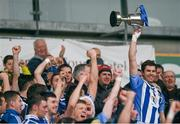 6 December 2015; Ballyboden St Enda's captain Darragh Nelson lifts the cup following his side's victory. AIB Leinster GAA Senior Club Football Championship Final, Portlaoise v Ballyboden St Enda's. O'Connor Park, Tullamore, Co. Offaly. Picture credit: Stephen McCarthy / SPORTSFILE