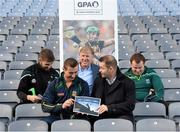 8 December 2015; In attendance at the launch of the GPA's report on Ring, Rackard and Meagher competitions are, from left, Paul Divilly, Kildare senior hurler, James Toher, Meath senior hurler, Donal O'Grady, Author of the Report, Dessie Farrell, CEO GPA, and Mark Curry, Fermanagh senior hurler. Croke Park, Dublin. Picture credit: Sam Barnes / SPORTSFILE