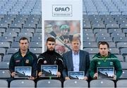 8 December 2015; In attendance at the launch of the GPA's report on Ring, Rackard and Meagher competitions are, from left, James Toher, Meath senior hurler, Paul Divilly, Kildare senior hurler, Donal O'Grady, Author of the Report, and Mark Curry, Fermanagh senior hurler. Croke Park, Dublin. Picture credit: Sam Barnes / SPORTSFILE