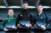 8 December 2015; In attendance at the launch of the GPA's report on Ring, Rackard and Meagher competitions are, from left, Mark Curry, Fermanagh senior hurler, Paul Divilly, Kildare senior hurler, and James Toher, Meath Senior hurler. Croke Park, Dublin. Picture credit: Sam Barnes / SPORTSFILE