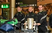 10 December 2015; Pictured, from left, are Kilkenny's Paul Murphy, Richie Hogan and Ger Aylward, with the Liam MacCarthy cup, before departing for Austin, Texas, USA. GAA All-Star Tour 2015, sponsored by Opel, departs for Austin, Texas, USA. Dublin Airport, Dublin. Picture credit: Ray McManus / SPORTSFILE