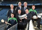 10 December 2015;  Leinster GAA Chairman John Horan, centre, with from left, Eanna Martin, Wexford Hurling, Pat Teehan, leinster GAA PRO, Jim Bolger, Leinster GAA Vice Chairman, Syl Merrins, Leinster Treasurer, Michael Reynolds, CEO Leinster, and Paul Cribbin, Kildare Football. At the Launch of the Leinster GAA Strategic Vision and Action Plan. Croke Park, Dublin. Picture credit: Matt Browne / SPORTSFILE