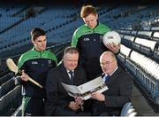 10 December 2015; Leinster GAA Chairman John Horan with Jim Bolger, Leinster GAA Vice Chairman, and from left, Wexford hurler Eanna Martin and Kildare footballer Paul Cribbin at the Launch of the Leinster GAA Strategic Vision and Action Plan. Croke Park, Dublin. Picture credit: Matt Browne / SPORTSFILE