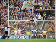 6 September 2009; Tipperary goalkeeper Brendan Cummins with team-mates Conor O'Mahony, left, and Padraic Maher fail to stop the penalty of Kilkenny's Henry Shefflin for his side's first goal. GAA Hurling All-Ireland Senior Championship Final, Kilkenny v Tipperary, Croke Park, Dublin. Picture credit: Brian Lawless / SPORTSFILE