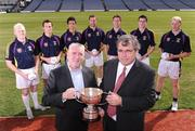 7 September 2009; Pictured are Cormac Farrell, Marketing manager O'Neills, left and Pat lamb, Chairman of Kilmacud Crokes Football Club, with footballers, from left, Mark Vaughan, Dublin, Brian McGrath, Wicklow, Cian O'Sullivan, Dublin, Darren Magee, Dublin, Kevin Nolan, Dublin, Mark Davoren, Dublin and Liam McBarron, Fermanagh, at the launch of the oneills.com Kilmacud Crokes All-Ireland football sevens tournament in Croke Park today. The renowned event attracts top club sides from around the country and will take place on 19 September. Croke Park, Dublin. Picture credit: Paul Mohan / SPORTSFILE