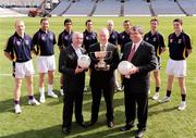 7 September 2009; Pictured is Uachtarán Chumann Lúthchleas Gael Criostóir Ó Cuana with Cormac Farrell, Marketing Manager O'Neills, left and Pat Lamb, Chairman of Kilmacud Crokes Football Club, with footballers, from left, Liam McBarron, Fermanagh, Darren Magee, Dublin, Cian O'Sullivan, Dublin, Brian McGrath, Wicklow, Mark Vaughan, Dublin, Ross O'Carroll, Kilmacud Crokes, Kevin Nolan, Dublin, and Mark Davoren, Dublin, at the launch of the oneills.com Kilmacud Crokes All-Ireland football sevens tournament in Croke Park today. The renowned event attracts top club sides from around the country and will take place on 19 September. Croke Park, Dublin. Picture credit: Paul Mohan / SPORTSFILE