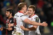 11 December 2015; Andrew Trimble, left, Ulster, celebrates after scoring his side's 2nd try with team-mate Paddy Jackson. European Rugby Champions Cup, Pool 1, Round 3, Ulster v Toulouse. Kingspan Stadium, Ravenhill Park, Belfast. Picture credit: Paul Mohan / SPORTSFILE