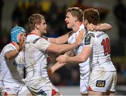 11 December 2015; Andrew Trimble, Ulster,scond right, celebrates with Luke Marshall, Chris Henry and Paddy Jackson after scoring his sides second try. European Rugby Champions Cup, Pool 1, Round 3, Ulster v Toulouse. Kingspan Stadium, Ravenhill Park, Belfast. Picture credit: Oliver McVeigh / SPORTSFILE