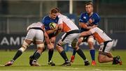 11 December 2015; Steve Crosbie, Leinster A, is tackled by Chris York, left, and Carwyn Jones, Ealing Trailfinders. British & Irish Cup, Pool 1, Leinster A v Ealing Trailfinders. Donnybrook Stadium, Donnybrook, Dublin. Picture credit: Stephen McCarthy / SPORTSFILE